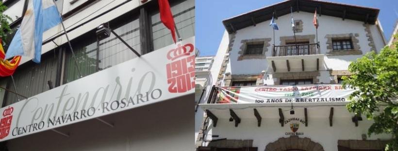 El Centro Navarro de Rosario (izq.) y el Centro Vasco Zazpirak Bat (der.). Estas instituciones centenarias, literalmente ubicadas una de la otra, están ambas integradas por descendientes de navarros.